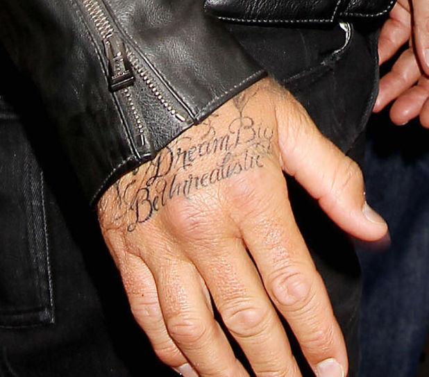 David Beckham new 'Dream Big Be Realistic' tattoo. Belstaff celebrates the launch of: Off Road, David Beckham Photography by Peter Lindbergh, New York, America - 09 Sep 2014