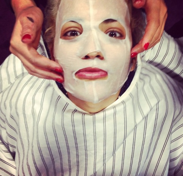 Rita Ora prepares for day 1 auditions of The Voice with a cloth face mask, 30 September 2014