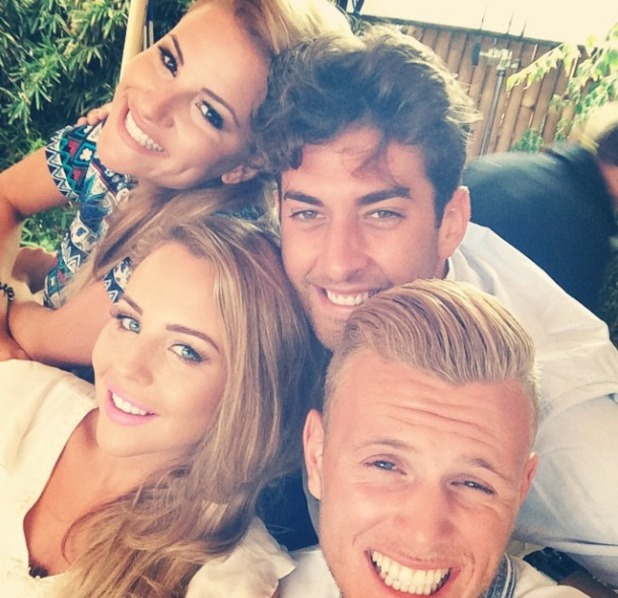 TOWIE stars Lydia Bright, Georgia Kousoulou, James Argent and Tommy Mallet pose for a selfie in Ibiza while filming series 13, 28 September 2014