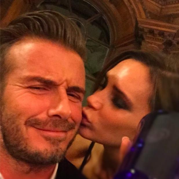 Victoria Beckham pecks husband David's cheek on launch of his Haig Club in Scotland, 4 October 2014