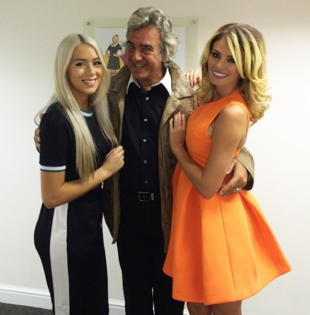 Chloe Sims and sister Demi with David Dickinson at Celebrity Juice - 3 October 2014