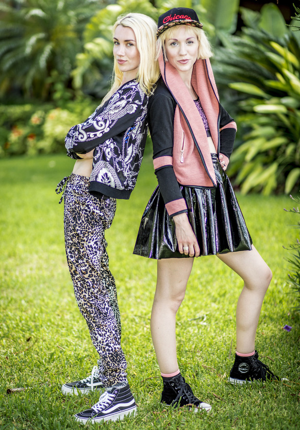 X Factor 2014 contestants, Blonde Electric - Jazzy, 24, and Ruby, 22 - September 2014.