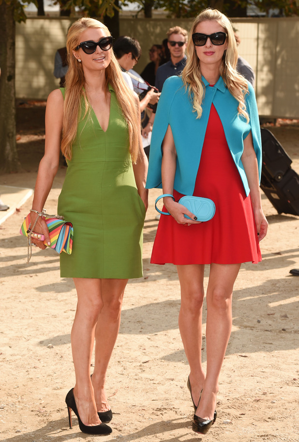 Paris Hilton and Nicky Hilton step out at the Valentino spring/summer '15 show during Paris Fashion Week - France - 30 September 2014