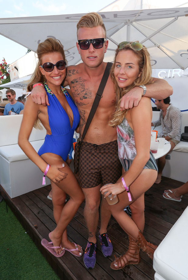 TOWIE, Tommy Mallet parties with Georgia Kousoulou and Lydia Bright in Ocean Beach Club, Ibiza, Spain 26 September