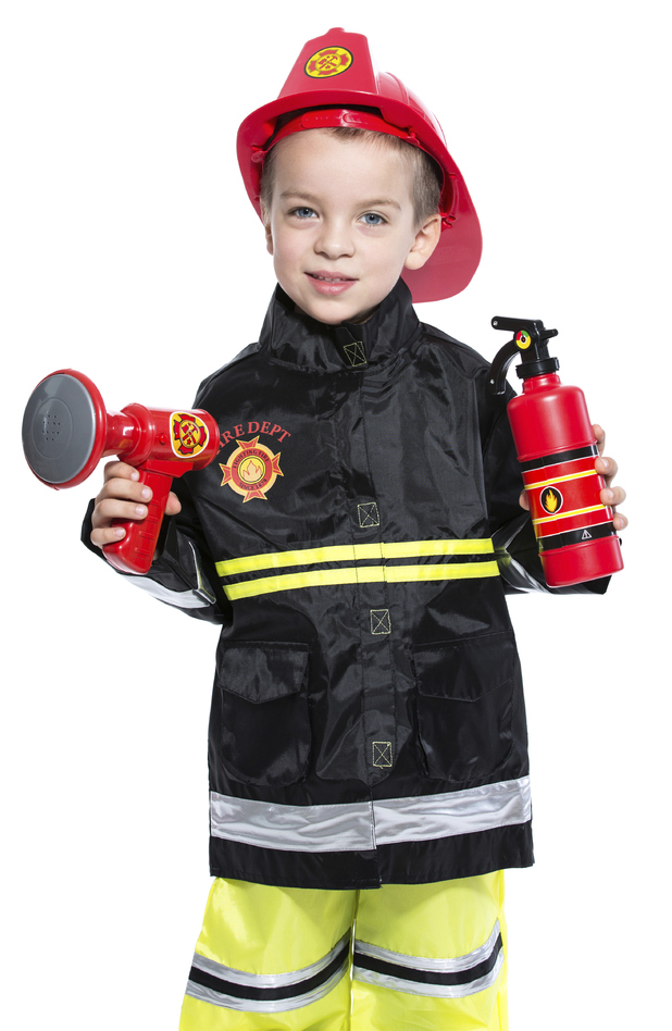 Boy in firefighter outfit