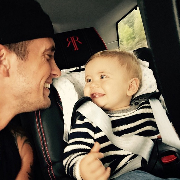 Dan Osborne is reunited with baby son Teddy after filming new series of TOWIE in Ibiza, 30 September 2014
