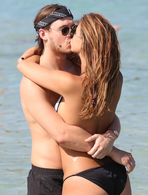 The Only Way Is Essex cast at Cala Bassa beach, Ibiza, Spain - 27 Sep 2014 Charlie Sims and Ferne McCann