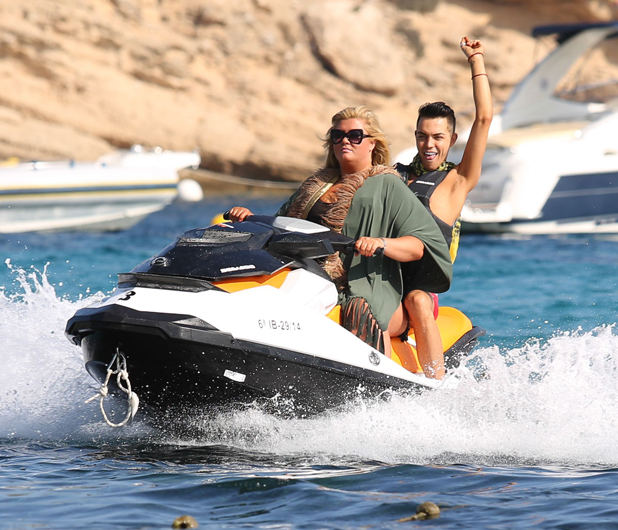 The Only Way Is Essex cast at Cala Bassa beach, Ibiza, Spain - 27 Sep 2014 Bobby Cole Norris and Gemma Collins