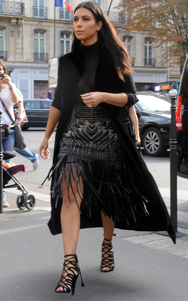 Kim Kardashian out and about in Paris wearing a tassled skirt, 29 September 2014