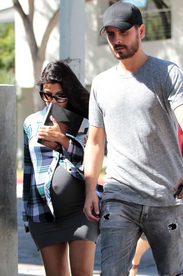 Pregnant Kourtney Kardashian and Scott Disick shop for home furnishings at Minotti Los Angeles showroom, 26 September 2014
