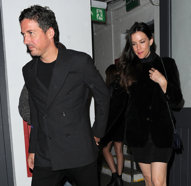 Liv Tyler and Dave Gardner pictured as Nick Grimshaw celebrates his birthday with friends at Shoreditch House, 2014