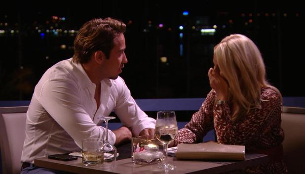 TOWIE - Danielle in tears while at dinner with James. Episode airs: Sunday 12 October.