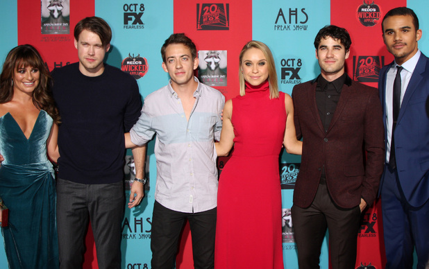 Lea Michele, Chord Overstreet, Kevin McHale, Darren Criss, Becca Tobin and Jacob Artist attend the premiere of American Horror Story: Freak Show in Los Angeles, America - 5 October 2014