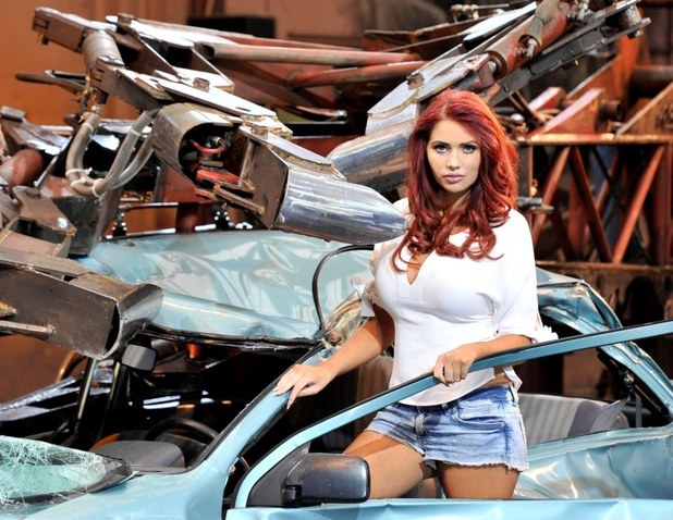 Amy Childs launches MoneySuperMarket's 'Car Insurance Epic Car Crusher'.
