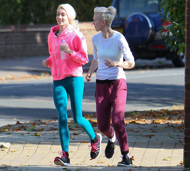 Jazzy and Ruby Kingg, aka Blonde Electric, out jogging with a friend near the X Factor finalists house - 5 Oct 2014