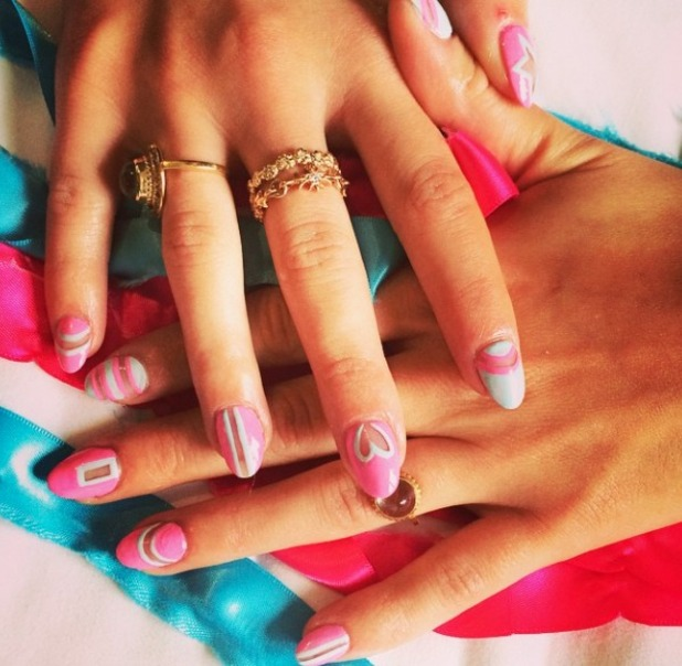 Eliza Doolittle shows off her pretty in pink nail art by Sophy Robson, 4 October 2014