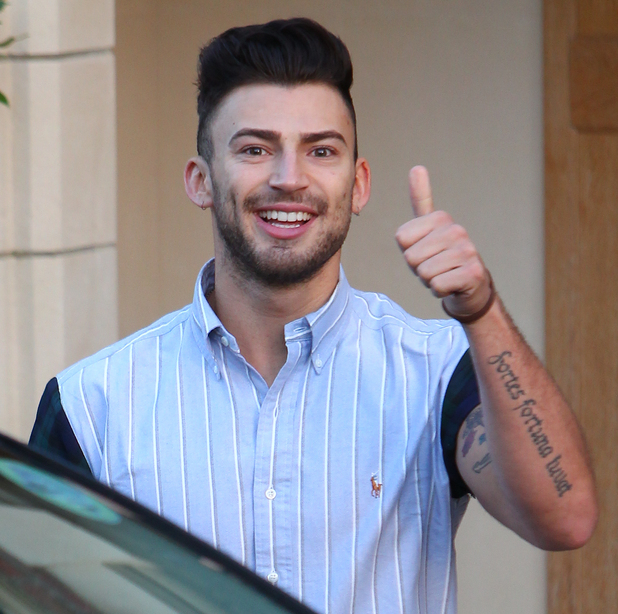 Jake leaves X Factor's north London house for the first rehearsal for the live shows. 10/09/2014