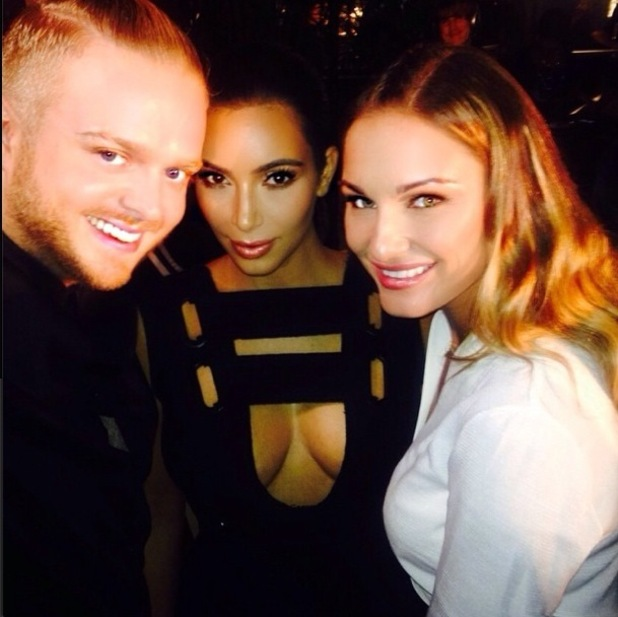 Sam Faiers takes a picture with Kim Kardashian at Charlotte Tilbury's make-up launch in Los Angeles, America - 9 October 2014