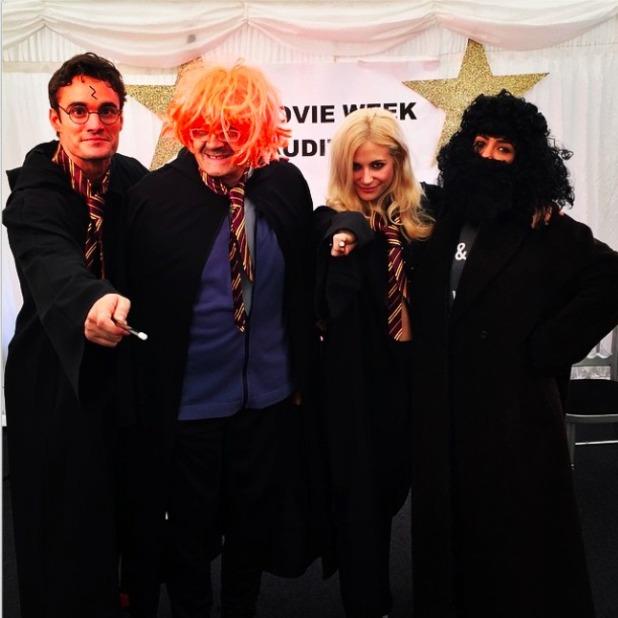 Frankie Bridge and SCD co-stars lark about backstage on set, 11 October 2014