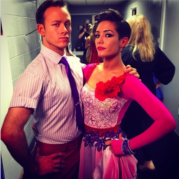 Frankie Bridge and SCD partner Kevin Clifton look fierce before live shows, 11 October 2014