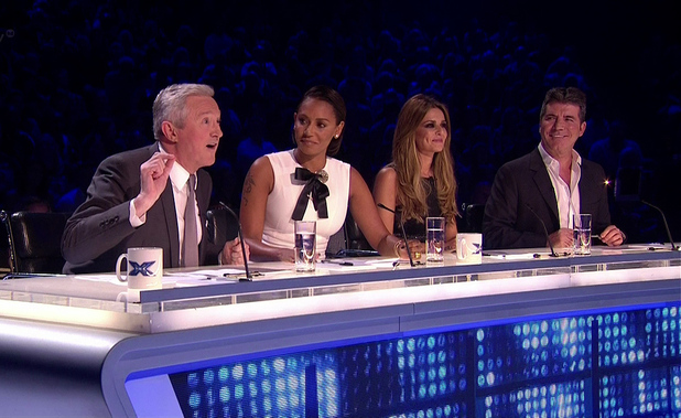 Louis Walsh, Mel B, Cheryl Fernandez-Versini and Simon Cowell on the first live show of 'The X Factor'. Shown on ITV1 HD, 11/10/14