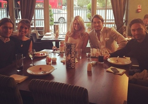 TOWIE's Danielle Armstrong and James Lock enjoy a meal with co-stars Ferne McCann, Charlie Sims and Mario Falcone - 14 October 2014