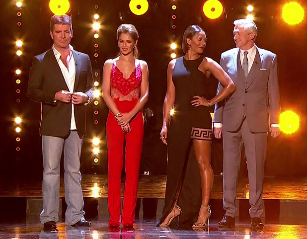 X Factor judges Simon Cowell, Cheryl Fernandez-Versini, Mel B and Louis Walsh on the results show of 'The X Factor'. Shown on ITV1 HD.