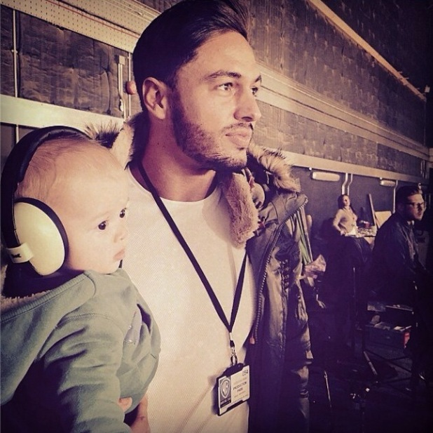 Mario Falcone and nephew Buzz watch Tom Fletcher rehearse with McBusted - 15 October 2014