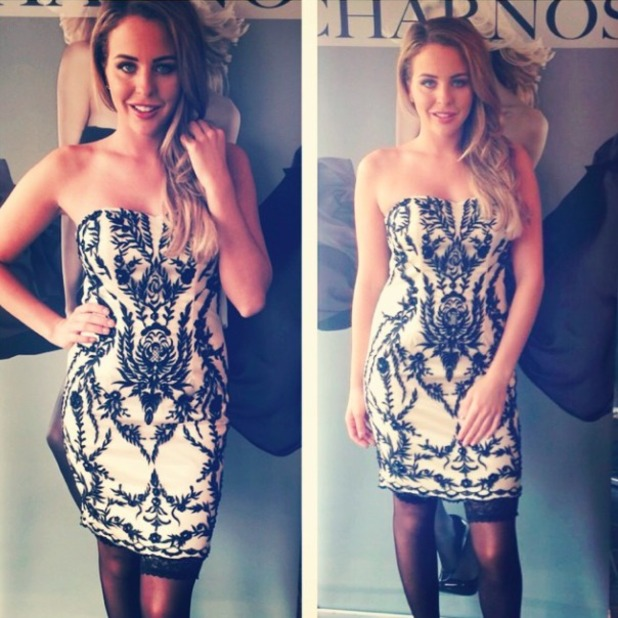 TOWIE's Lydia Bright celebrates National Stockings Day, 17 October 2014
