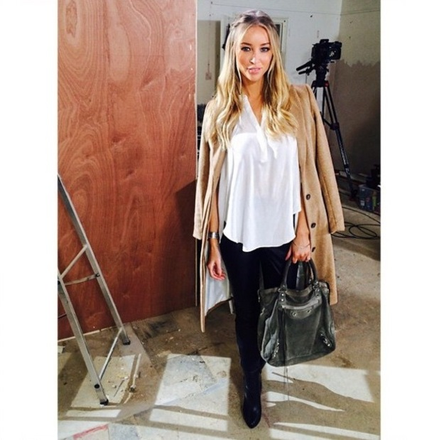 Lauren Pope wears a camel coat while filming TOWIE - 14 October 2014