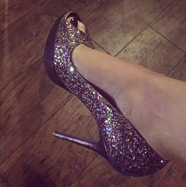 Jess Wright shows off her glitter peep-toe heels by Jimmy Choo while filming TOWIE - 15 October 2014