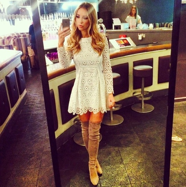 Lauren Pope wears a dress from her collection for InTheStyle.co.uk while filming in Soho, London - 15 October 2014