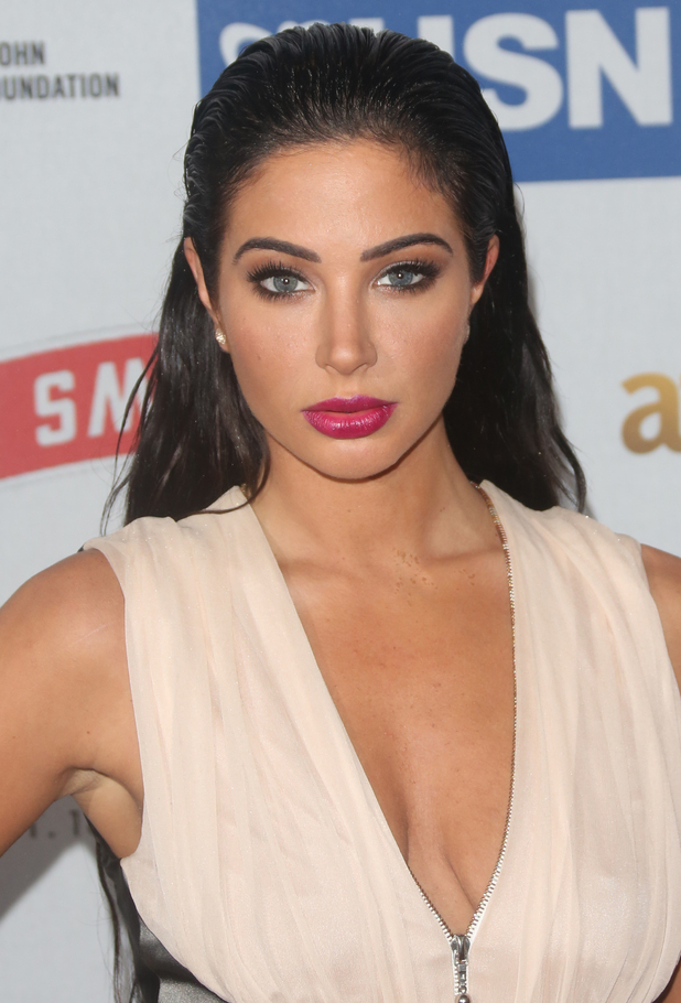 Tulisa Contostavlos wears a powder pink gown at the Attitude Magazine Awards in London - 13 October 2014