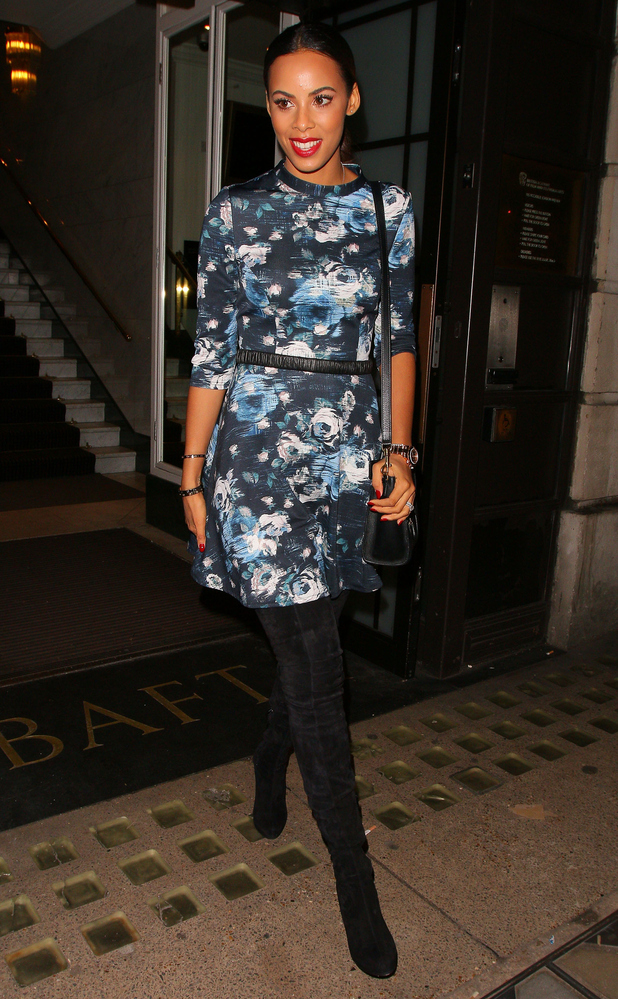 Rochelle Humes wears a dress from her own collection for Very.co.uk while leaving the BAFTA offices in London - 16 October 2014