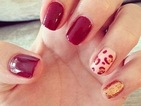 Copy Billie Faiers' leopard print and gold glitter nail art manicure