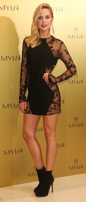 Kimberley Garner attends lingerie brand Myla's 15th anniversary celebration party in London, England - 21 October 2014