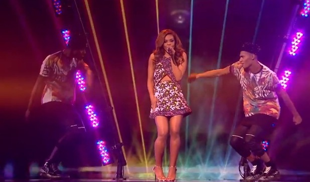 X Factor Stephanie Nala performs Blondie's 'Call Me', The X Factor, ITV 18 October
