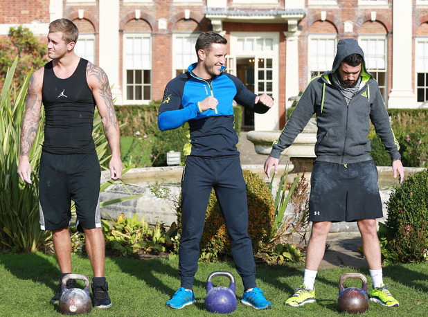 The Only Way Is Essex 'Essex's Strongest Man' TV show filming, Britain - 22 Oct 2014 Dan Osborne, Elliot Wright, Ricky Rayment