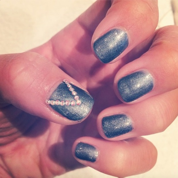 Lydia Bright shows off fabulously sparkly, slate grey nails, by Denise Saunders, 20 October 2014