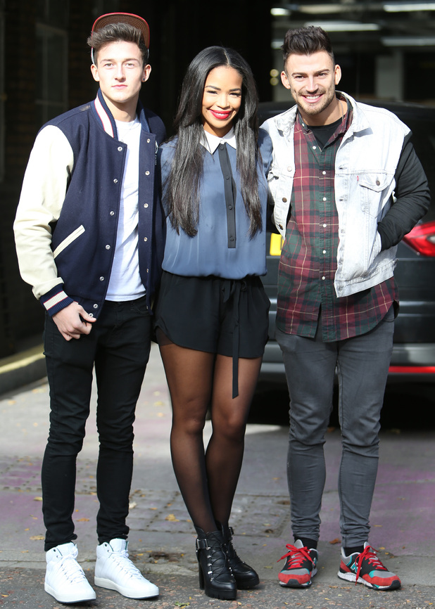 Sarah-Jane Crawford and X Factor boys Jack Walton and Jake Quickenden outside ITV Studios, London