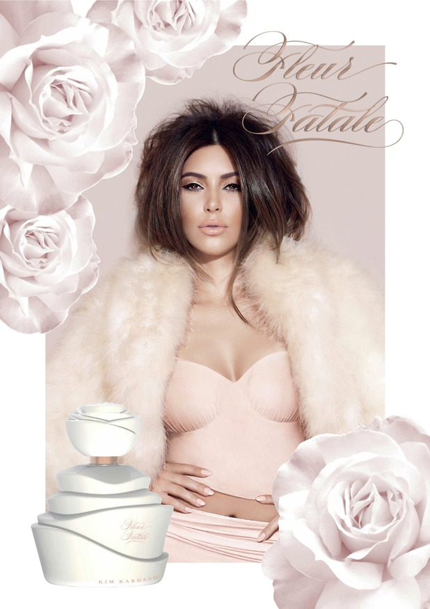 Kim Kardashian West's campaign picture for her seventh perfume Fleur Fatale - October 2014