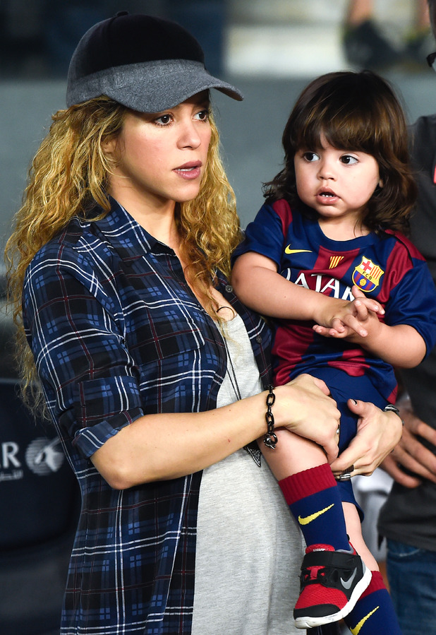 Shakira and her son Milan look on during the La Liga match between FC Barcelona and SD Eibar at Camp Nou on October 18, 2014 in Barcelona, Spain.