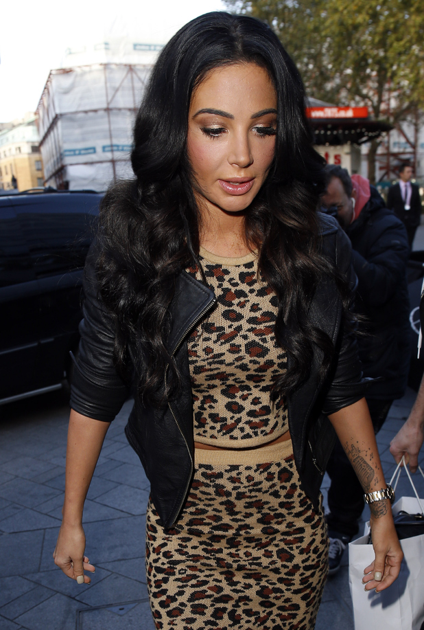 Tulisa Contostavlos seen arriving at the Global Radio Studios, Leicester Square on October 22, 2014 in London, England.