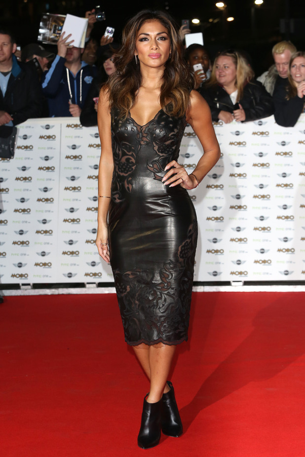 Nicole Scherzinger wears a leather dress at the MOBO Awards in London, England - 22 October 2014