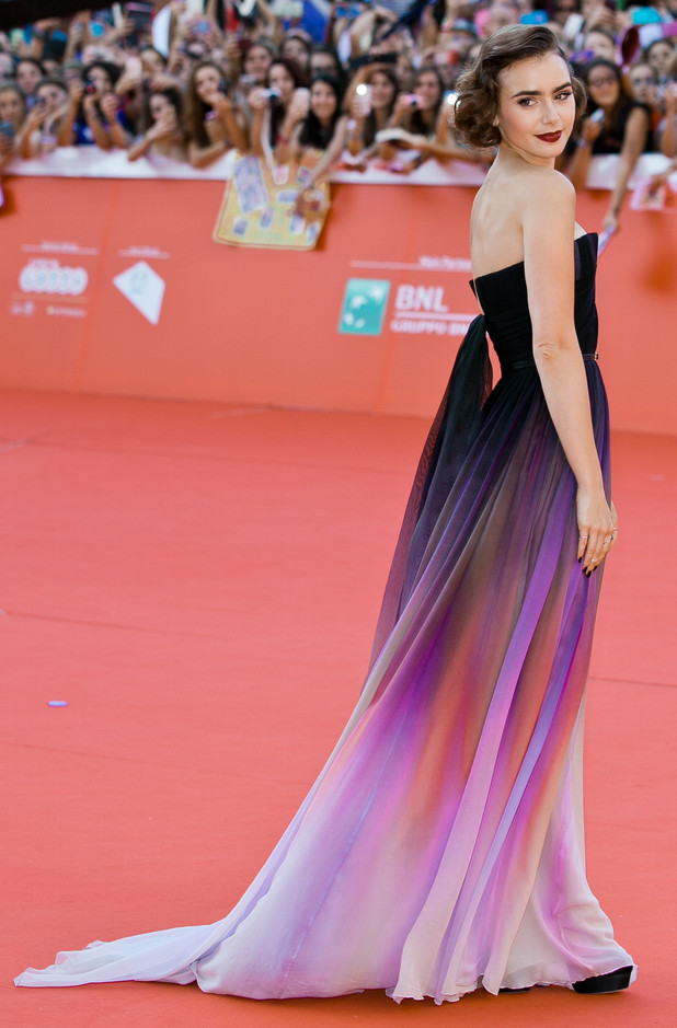 Lily Collins steps out at the premiere for her new film Love, Rosie in Rome, Italy - 19 October 2014