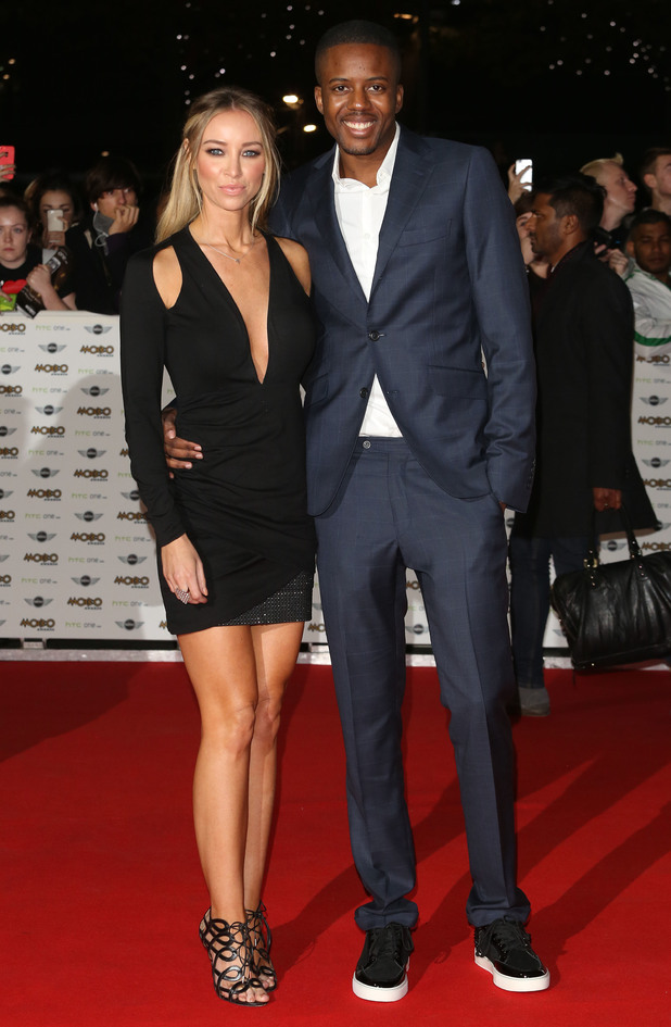 Lauren Pope and Vas J. Morgan attend the MOBO Awards in London, England - 22 October 2014