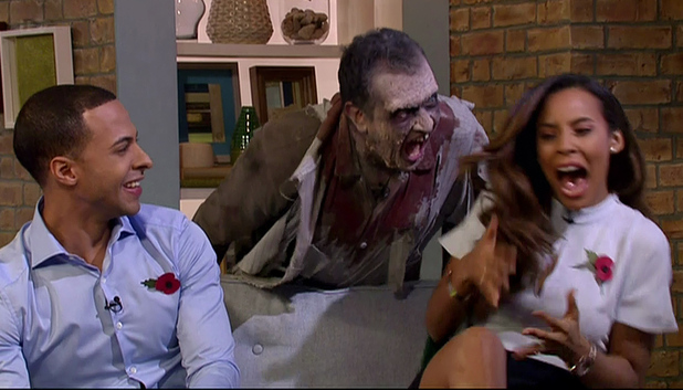 Marvin Humes scares Rochelle Humes on This Morning, ITV 31 October