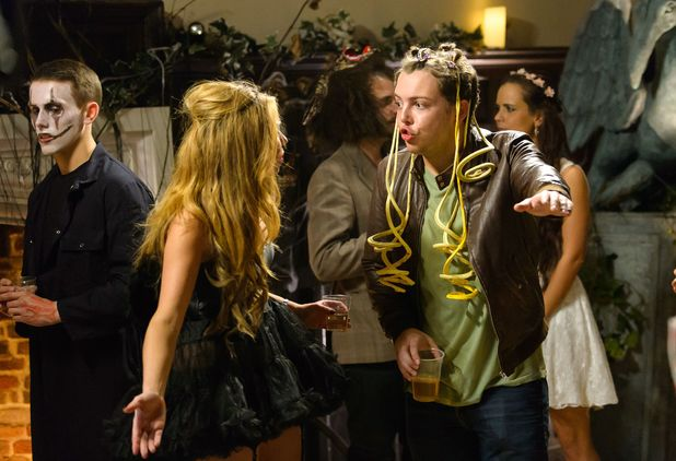 Fran and Diags at the Halloween party - 'The Only Way is Essex' cast filming, Britain - 30 Oct 2014