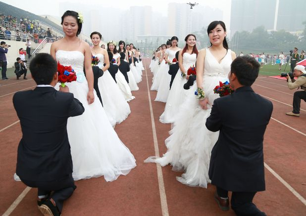 Couples participating in wedding day at Chengdu, Sichuan Province, China