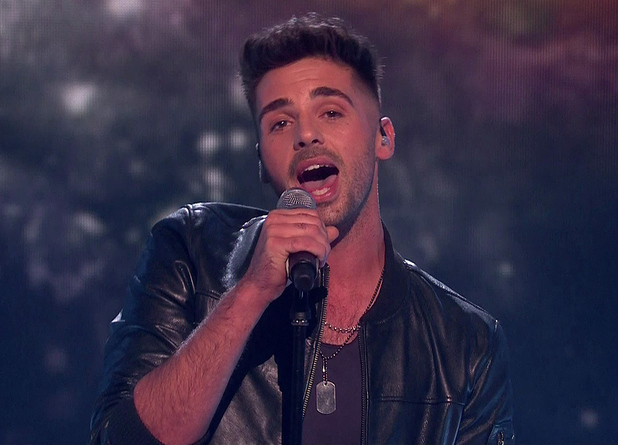 Ben Haenow performing 'I Don't Want To Miss A Thing' on the 'Saturday Night at the Movies' edition of the 'The X Factor'. Shown on ITV1 HD. 25/10/14.